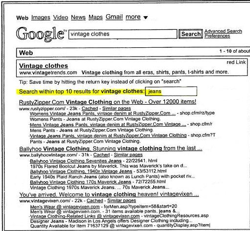 A screenshot from the patent showing top results on a search for vintage clothes, with a search box appearing above the results allowing searchers to search more deeply through those top results.