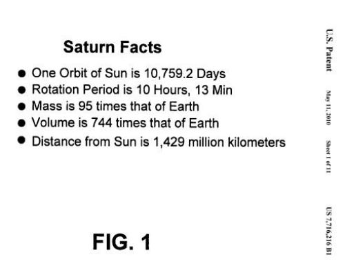 An example HTML list, using the heading Saturn Facts and listing a number of astronomical facts about Saturn, including orbit, rotation period, mass, volume, and distance from the sun.