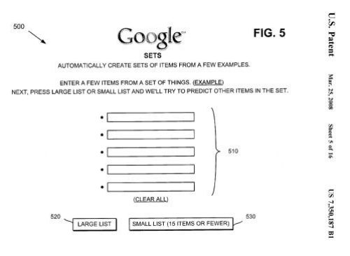 screenshot of patent drawing showing front page of Google Sets