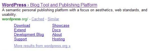 A search result for WordPress, showing additional links under the listing for the main page which point to other pages on the site.