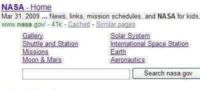 Google site links for NASA