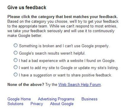 The text of a feedback page from Google