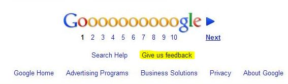 The footer for a Google search result page, with a link users can click upon to provide feedback