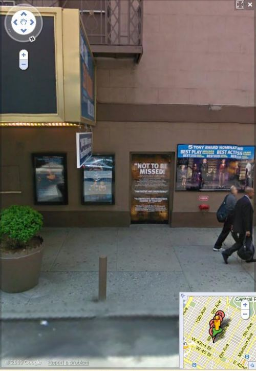 a Google Streetview image of the Eugene O'Neill theatre showing posters advertising coming shows.