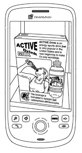 A screenshot from the patent showing an image of a box of a sports drink.