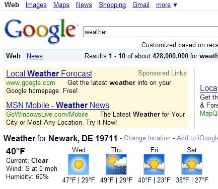 screenshot of local Google Weather results