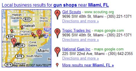 Google local search results on a search for gun shops in Miami Florida with the Girl Scouts as the top result