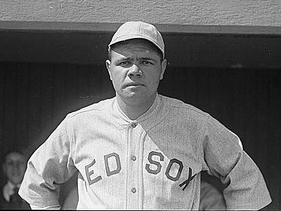 Babe Ruth, well known as a New York Yankee, in a Red Sox uniform.