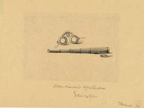 An old drawing of a pair of horn rimmed spectacles and a telescope from around the 1870s.