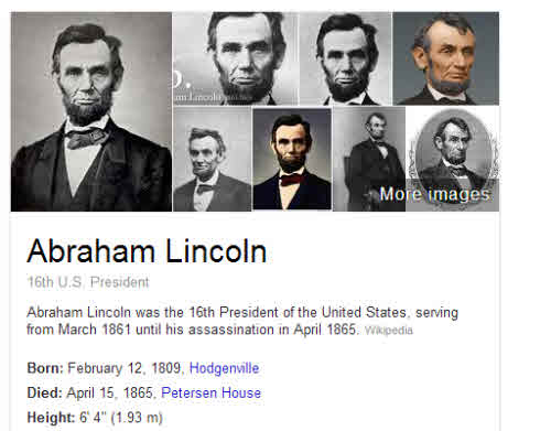 part of the Google knowledge panel for Abraham Lincoln, including his height listed as a fact about him.