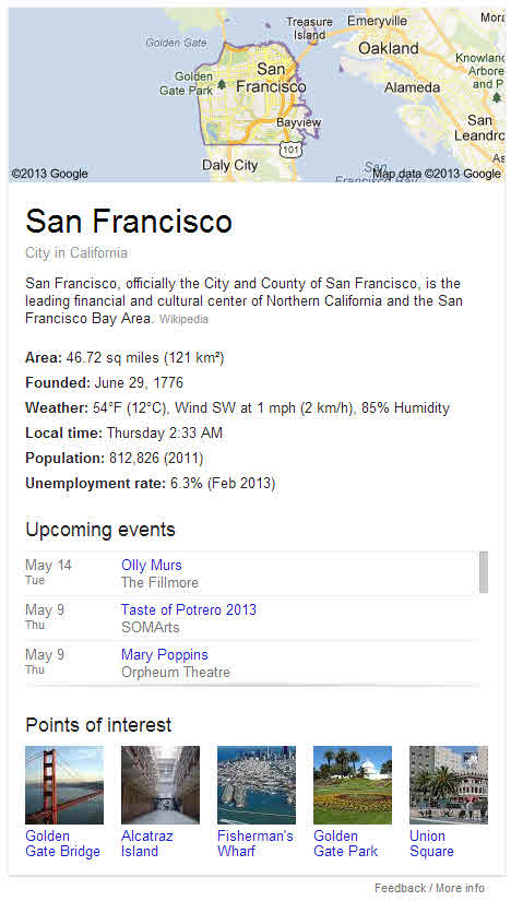 The San Francisco knowledge panel, with a very interesting events section.