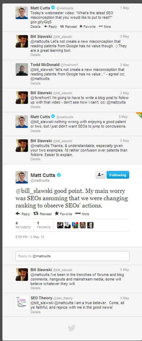 A Twitter exchange where Matt Cutts expresses his concerns about misconceptions being spread based upon Google Patents.