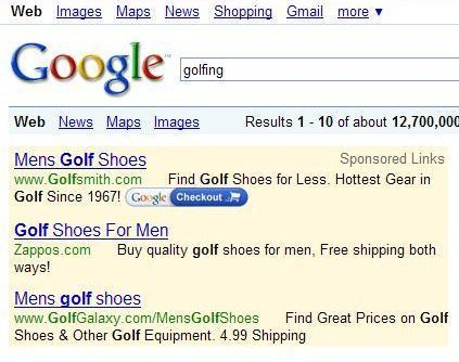 Google paid search results in a search for golfing