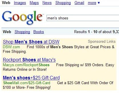 Google paid search results in a search for men's shoes