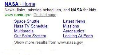 Microsoft site links for NASA
