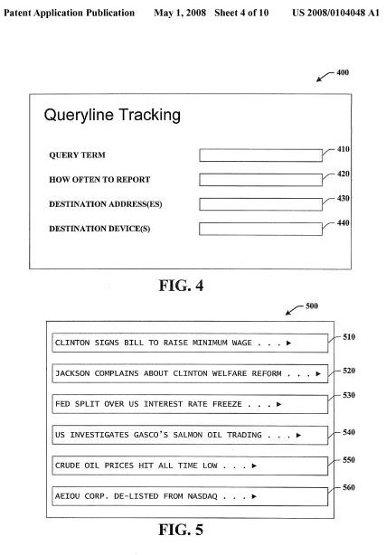 a screenshot from a Microsoft patent application showing a user interface for a queryline tracking system, and an example of stories involving a query for the word 'Clinton.'