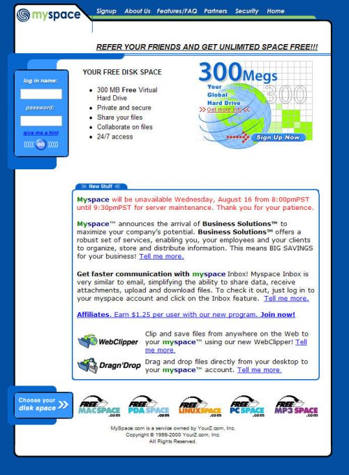The MySpace.com home page on August 16, 2000, offering free hosting and paid business services.