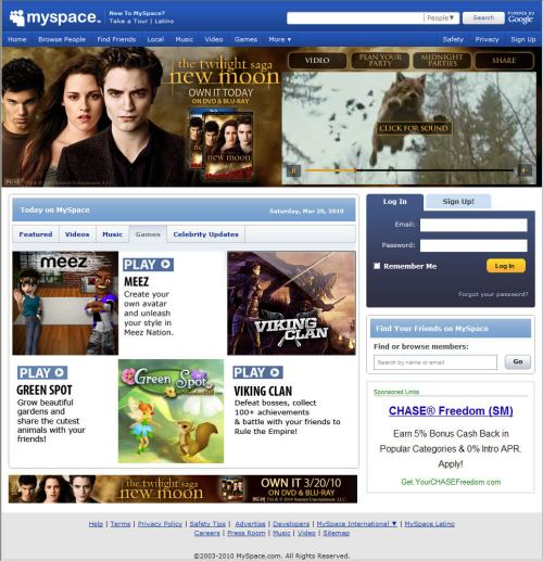 The MySpace.com home page today.