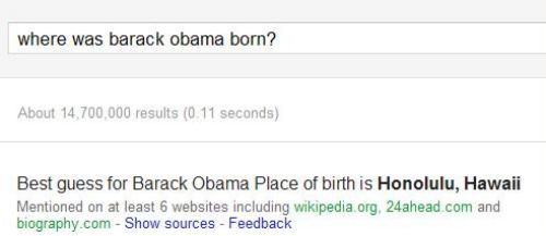 A Question and Answer result at Google for the question of where Barack Obama was born.