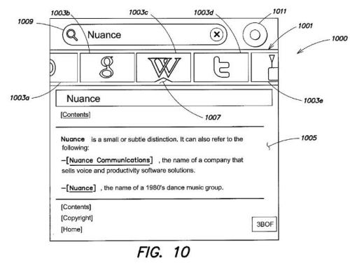 A screenshot from the patent showing the Dragon search interface from Nuance.