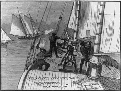 warfare on the seas, with watermen taking aim at police schooner Julia Hamilton