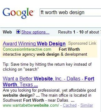 Google search results showing 'Fort Worth' highlighted on a search for 'Ft. Worth.'