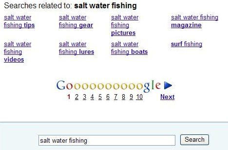 google query suggestions at the bottom of search results