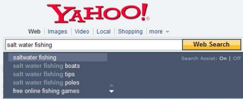 yahoo auto completion query suggestions under the search box