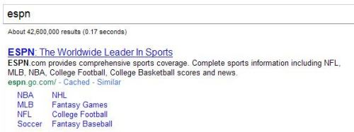 A Google search for ESPN shows me the homepage to the site; useful since I can never remember the URL.