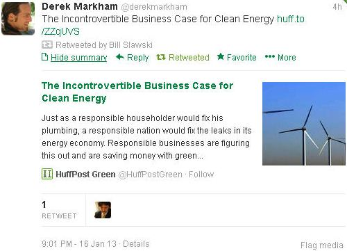 A tweet that I retweeted on Twitter about the business case for clean energy.