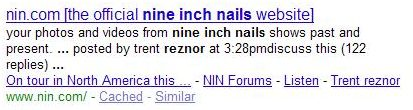 search results for a Google search for [nine inch nails reznor].