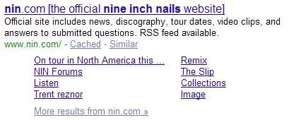 search results for a Google search for [nine inch nails].