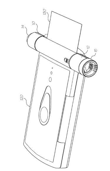 A modular camera and printer from the Silverbrook patent application US20100295951, where the camera looks like a pen.