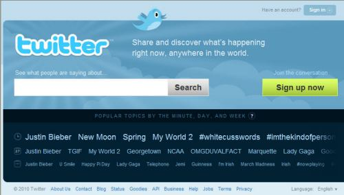The Twitter.com home page today.