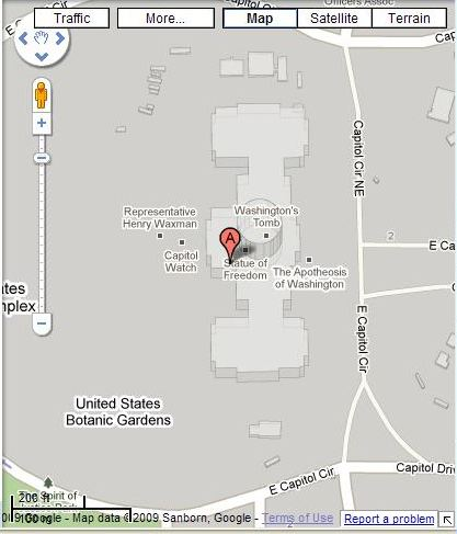 Google Maps image of the Capitol Building in Washington, DC.