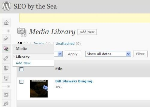 A screenshot of where you can upload images to WordPress in their media library.