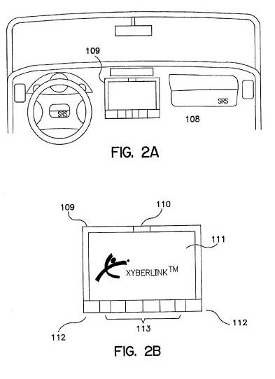 A screenshot from the patent showing a computer interface used as a car navigational device