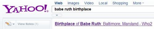 Yahoo search result showing Babe Ruth's Place of Birth.