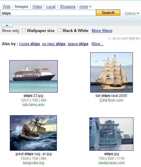 yahoo image search results showing images of ships.