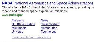 yahoo quicklinks for NASA