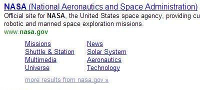 yahoo quicklinks for NASA