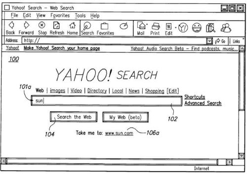 A screen shot from a yahoo patent showing a speculative search result for sun