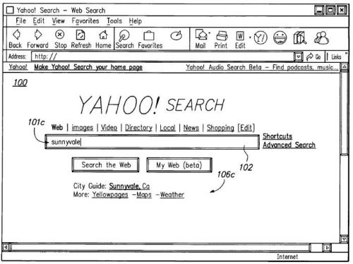 A screen shot from a yahoo patent showing a speculative search result for sunnyvale