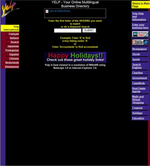 The yelp.com home page on December 22, 1996, as a directory service.