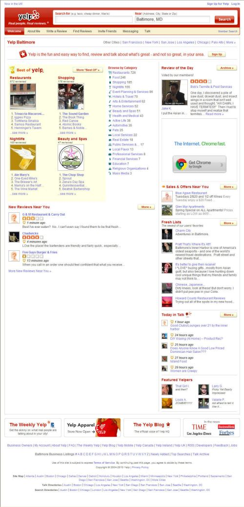 The Yelp.com home page today.