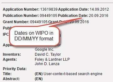 Dates from the WIPO site