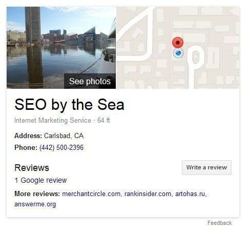 A knowledge panel that shows up in searches for 'SEO by the Sea' as a result of having a verified business listing at Google.