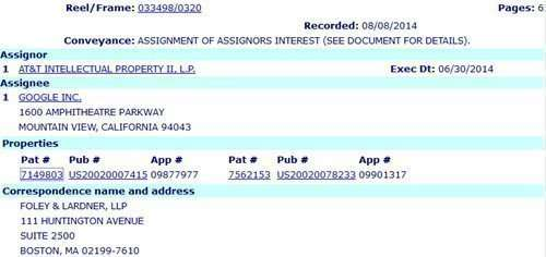 USPTO Database showing Assignment of AT&T patent to Google
