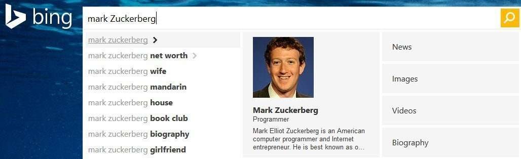 "A dropdown on a search for Mark Zuckerberg shows Bing's ""authoritative image"" for him to searchers."