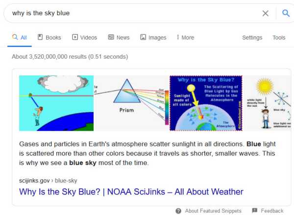 featured snippet answers - why is the sky blue